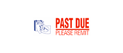 "PAST DUE PLEASE REMIT Two-Color Stock Stamp 1/2"" x 1-5/8"""