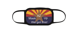 these three-layer face masks feature a 100% polyester outer shell and a cotton inner layer that follows CDC recommendations for cloth facial coverings. Arizona, let's get through this!
