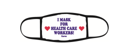 these three-layer face masks feature a 100% polyester outer shell and a cotton inner layer that follows CDC recommendations for cloth facial coverings. Show support for our healthcare workers by wearing this mask.
