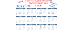 See the year at a glance with your 2020 calendar mouse pad.  Customize it with your name or logo.