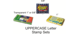 "UPPERCASE 5/8 "" Alphabet Stamp Set Comes with 8 punctuation stamps Requires a stamp pad"
