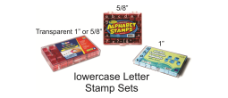 "LOWERCASE 5/8 "" Alphabet Stamp Set Comes with 8 punctuation stamps Requires a stamp pad"