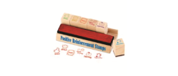 Positive Reinforcement Teacher Stamps 6 Wooden Stamp Pack With Red Stamp Pad