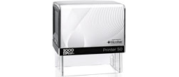The printer 50 has a 1.25 inch x 2.75 inch impression. It is a self-inking stamp with a built in pad that is re-inkable.  It has a great impression.