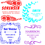 Customized design address stamps for weddings, invitations, announcements or every day use.