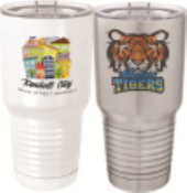 Full color Polar Camel Tumbler with a lid.  To be customized with your text and/or full color picture or logo. 30 ounce size in either stainless steel or white.